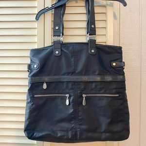 Baggallini Black Travel Bag with Leather trim